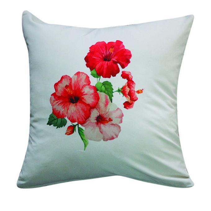 China Rose Printed Cushion Cover - Gray