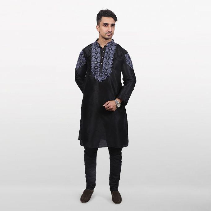 Black Print Katan Cotton Panjabi For Men