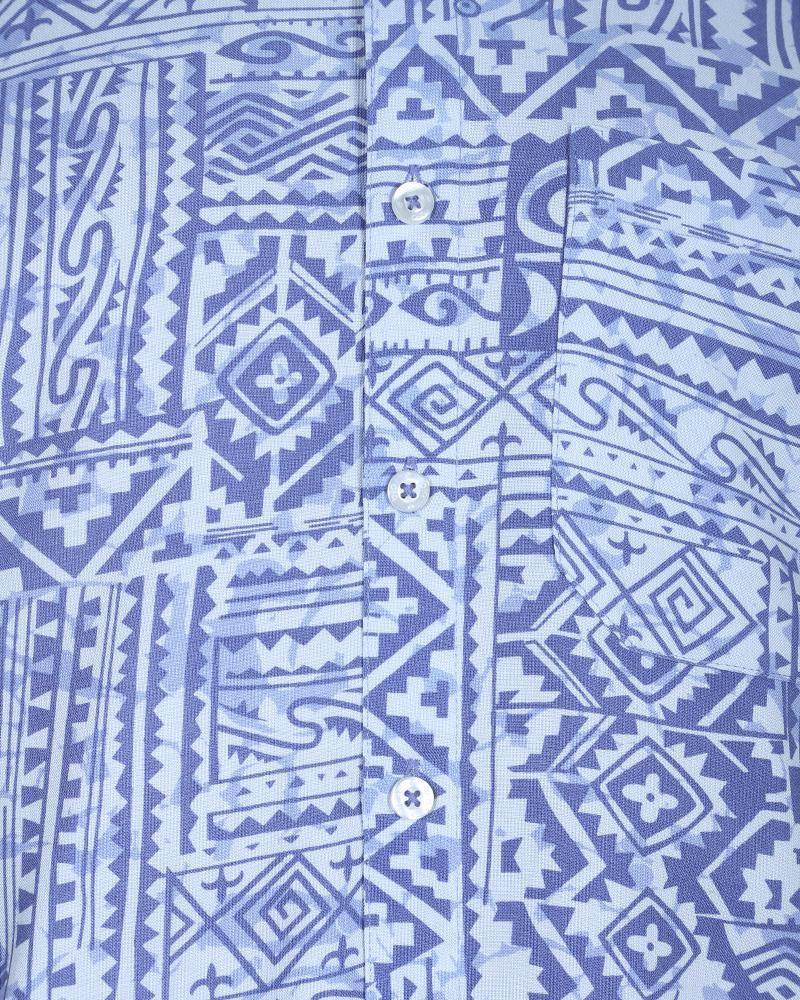 Viscose Casual Short Sleeve Shirt - Blue Print