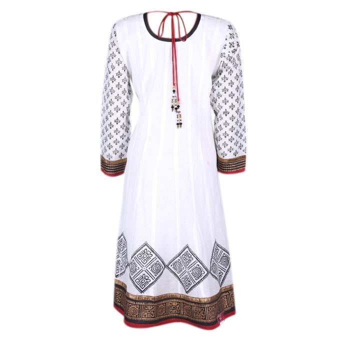 White and Black Cotton Casual Kurti For Women