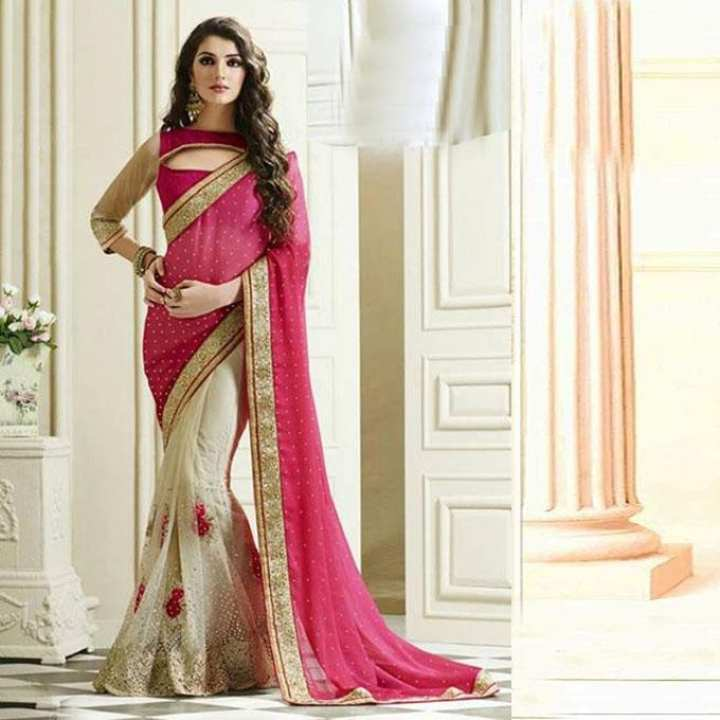 Pink and Cornsilk Indian Georgette Saree For Women