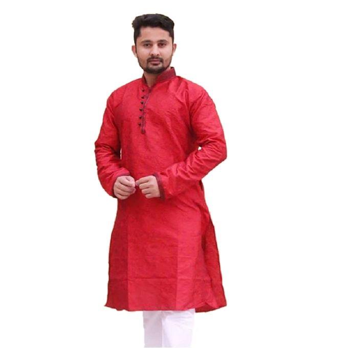 Crimson Cotton Panjabi For Men