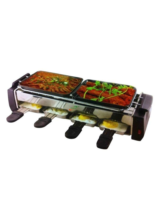 3-in-1 Smokeless Electric BBQ Grill - Black and Silver