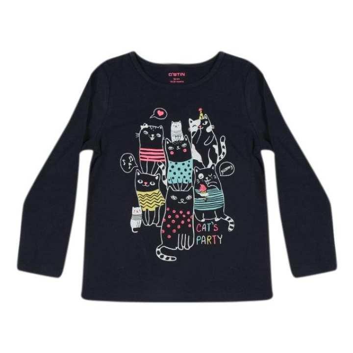 Black Cotton Long Sleeves T-shirt For Girls