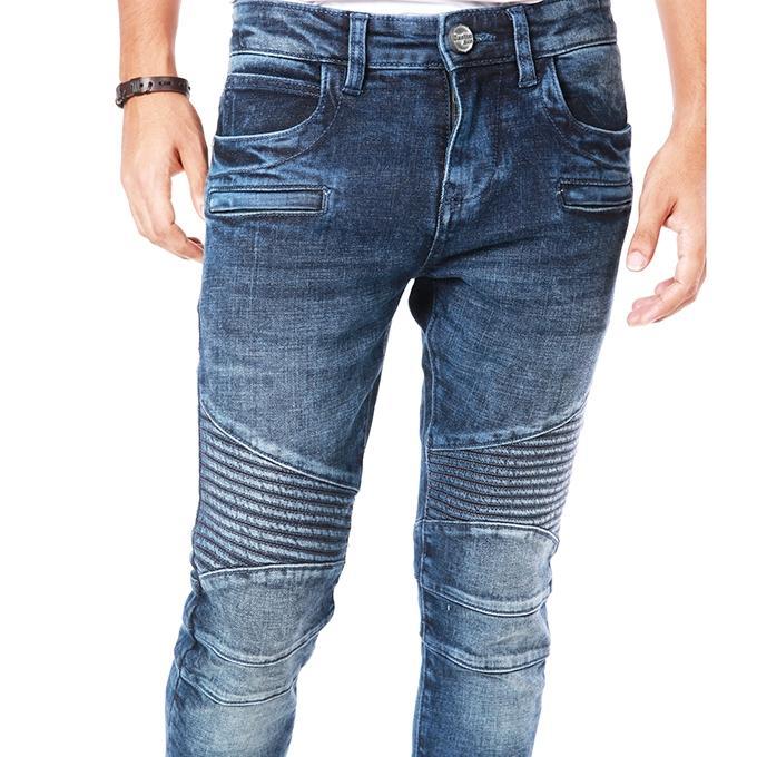 Light Navy Blue Denim Biker Jeans for Men