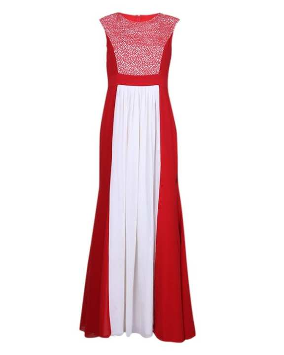 Chiffon Dress For Women - Red and White