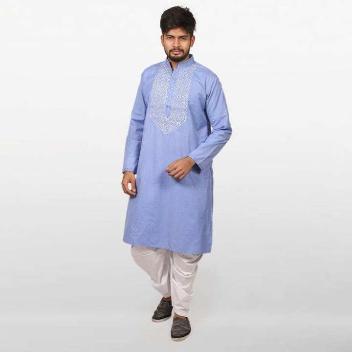 Blue Braso Cotton Panjabi for Men