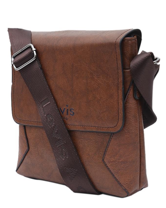 PU Leather Messenger Bag For Men - Dark Brown