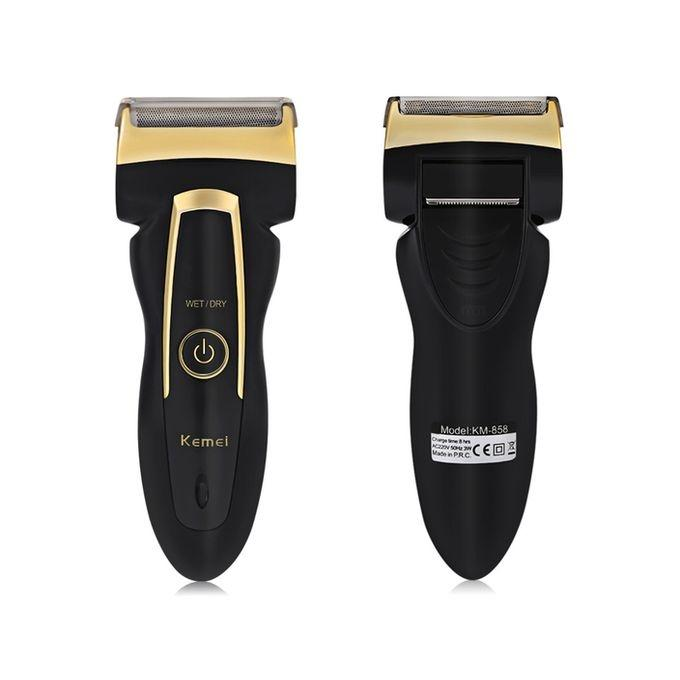 KM-858 Rechargeable Electric Shaver - Black