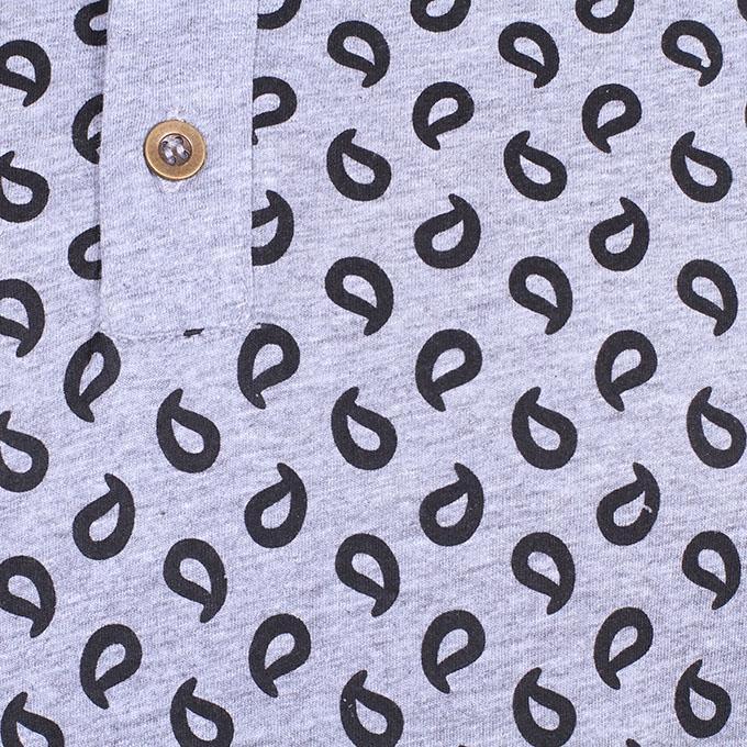 Black and Ash Cotton Polo Shirt For Men