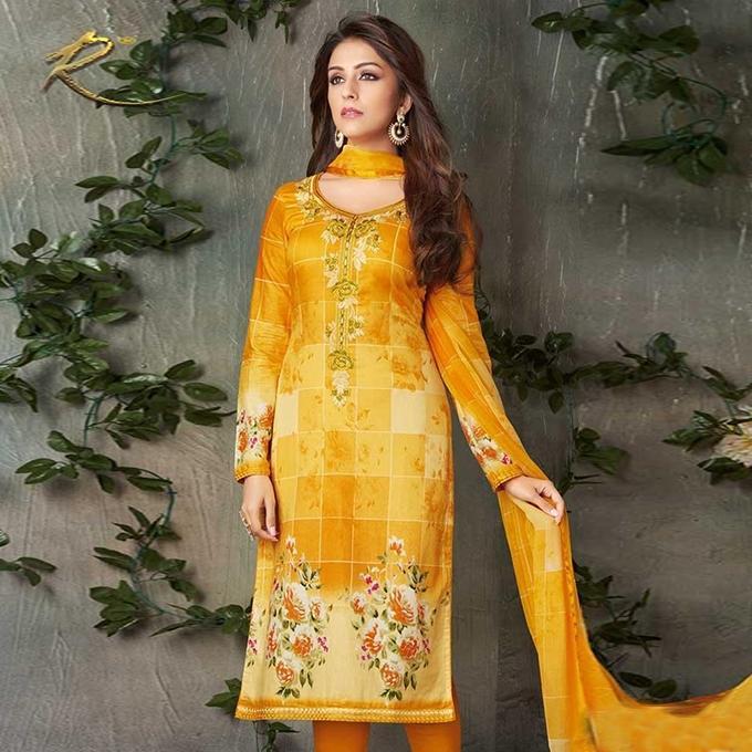 Yellow Cotton Unstitched Shalwar Kameez For Women