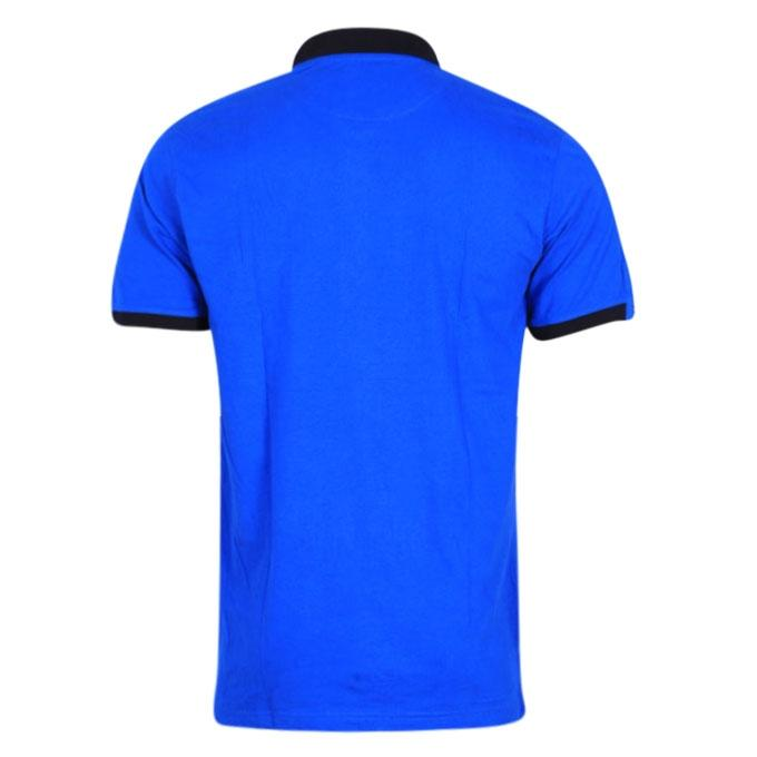 Blue and Black Cotton Polo Shirt For Men