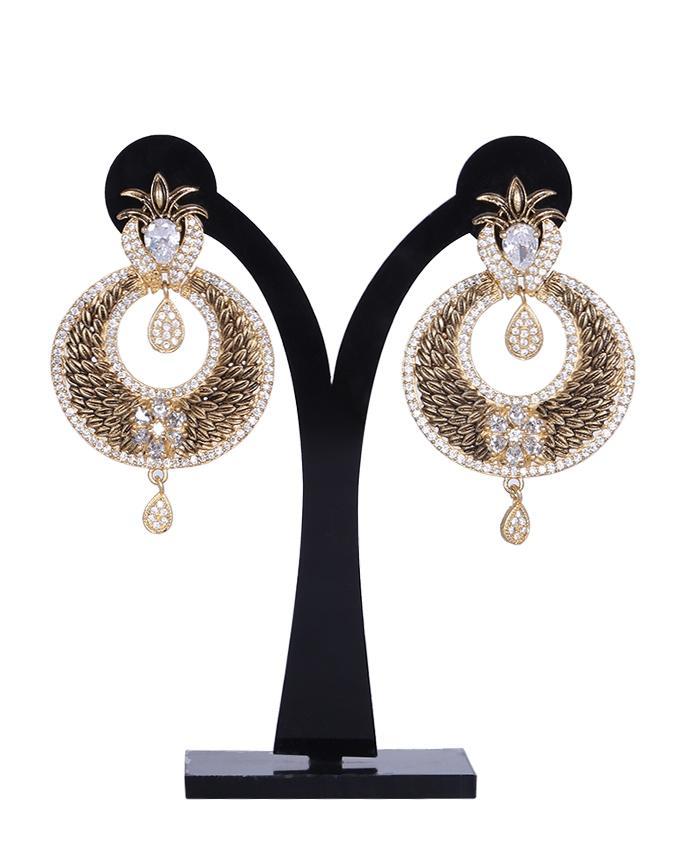 Diamond Cut Earrings For Women - Gray