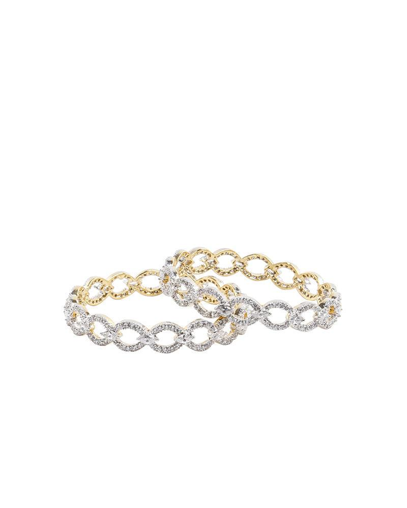 Golden Body Diamond Cut AD Stone bangles - White