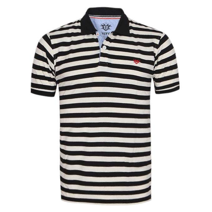 Black and White Cotton Casual Polo For Men