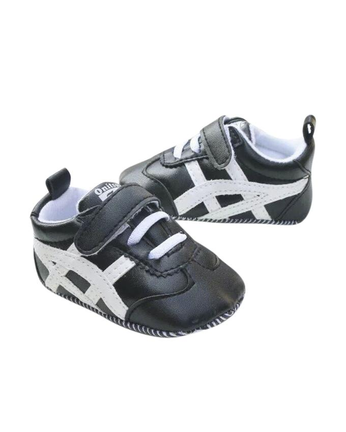 Black and White PU Leather Sneaker For Boys