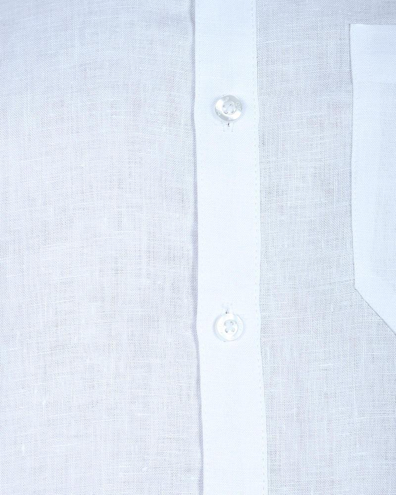 Linen Casual Short Sleeve Shirt - White