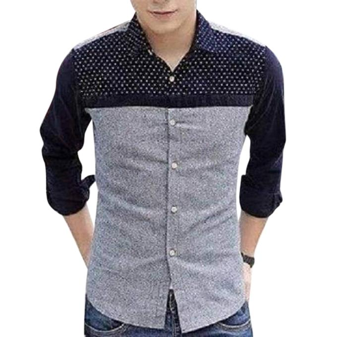 Ash and Black Cotton Long Sleeve Shirt for Men
