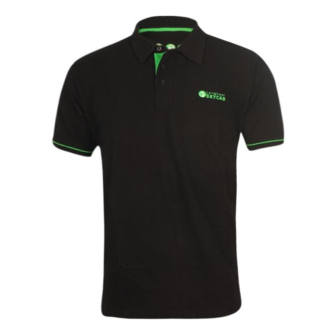 Black Cotton Short Sleeve Polo for Men