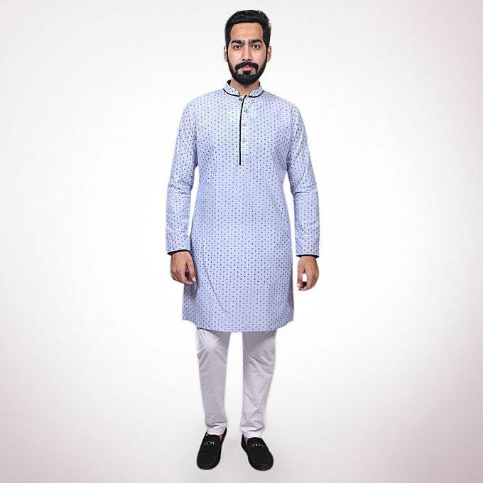 Sky Blue Print Cotton Casual Panjabi for Men