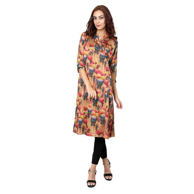 Multi-Color Mixed Fabrics Stitched Kurti for Women