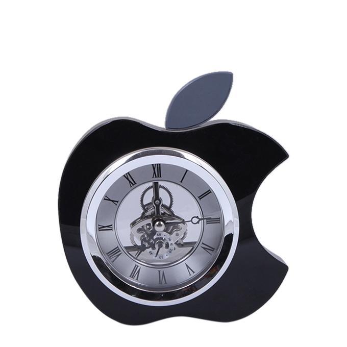 Crystal Apple Shaped Table clock - Black
