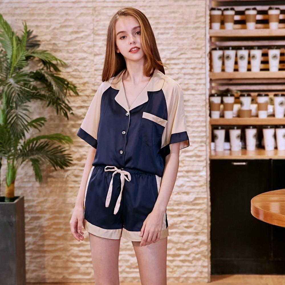 Women  S Artificial Silk Pajamas Short Sleeves Nightwear Fashion Nightgown  Summer Homewear Blue  ee4e2ebc1