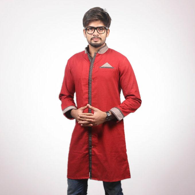 Maroon Cotton Panjabi For Men