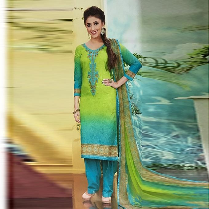 Teal And Parrot Green Cotton Unstitched Shalwar Kameez For Women