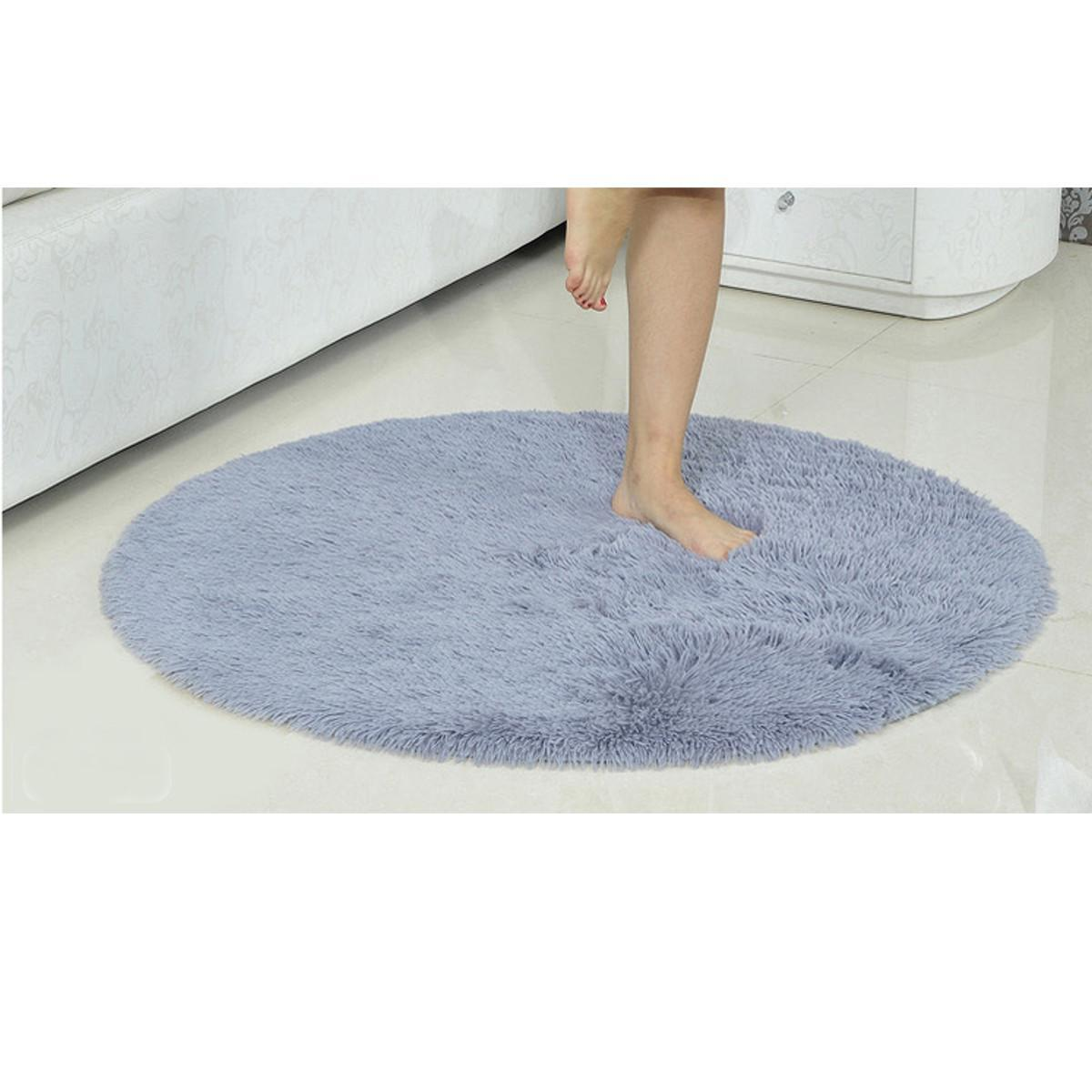 Fluffy Round Soft Rug Shaggy Area Kid Anti-Slip Carpet Room Office Floor Mat