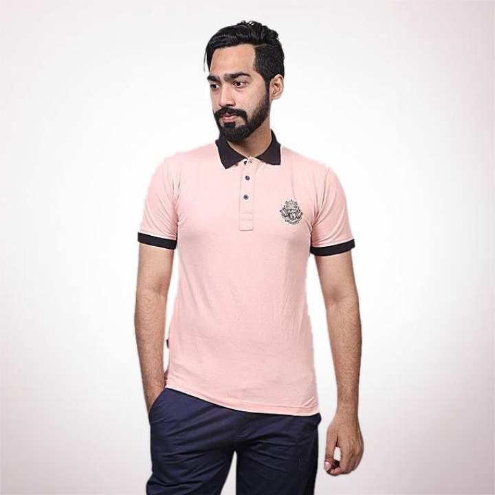 Peachpuff Cotton Casual Polo for Men