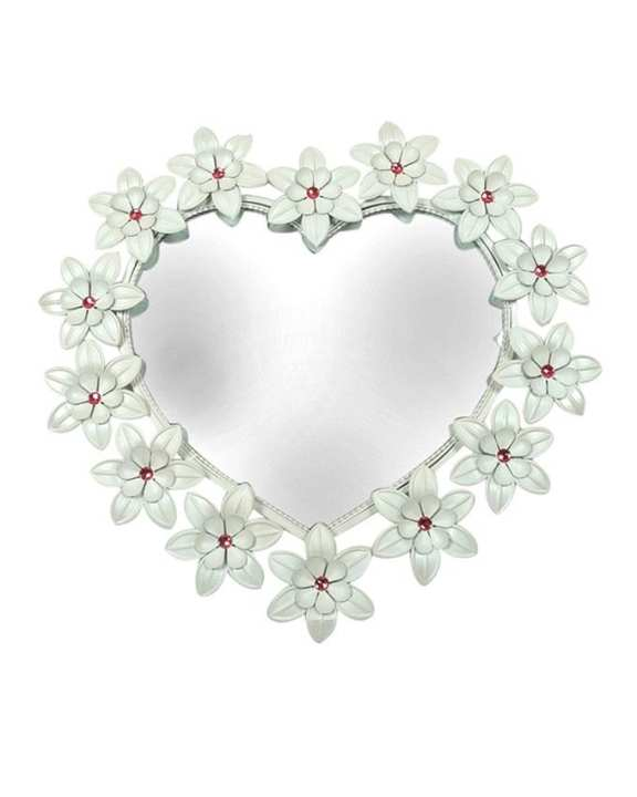 Heart Shaped Accent Wall Mirror With Floral Frame & Stones - Off-White & Red