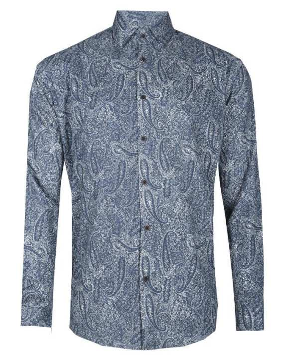 Cotton Casual Long Sleeve Shirt - Blue Printed