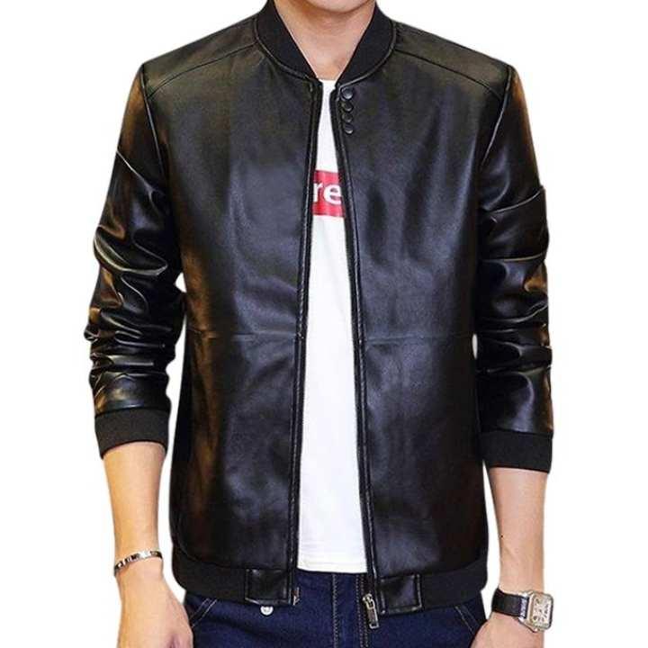 Black PU Leather Full Sleeve Jacket For Men