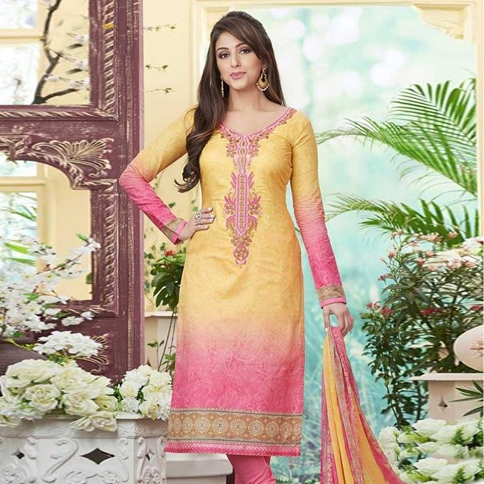 Yellow And Pink Cotton Unstitched Shalwar Kameez For Women