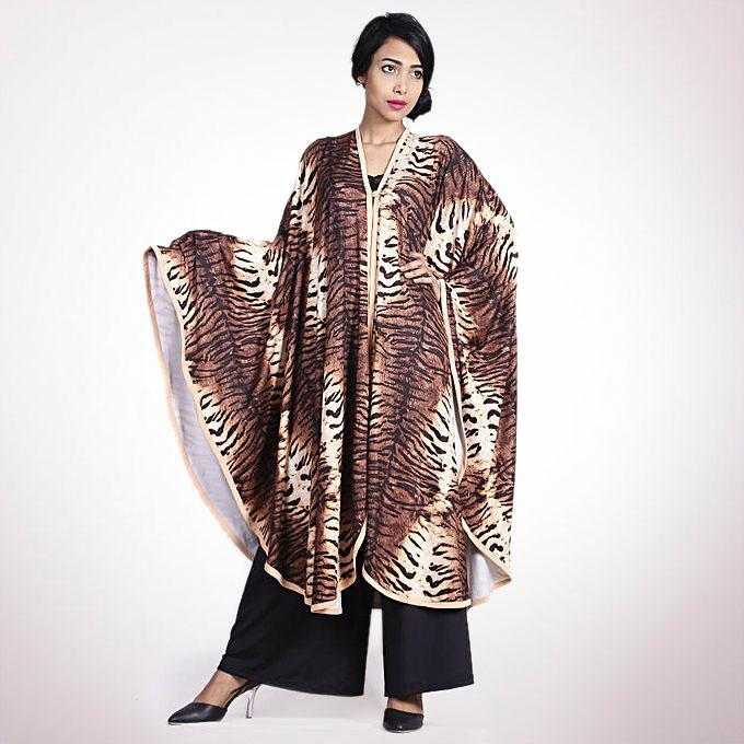 Lycra Cotton and Spandex Printed Casual Cloak - Brown