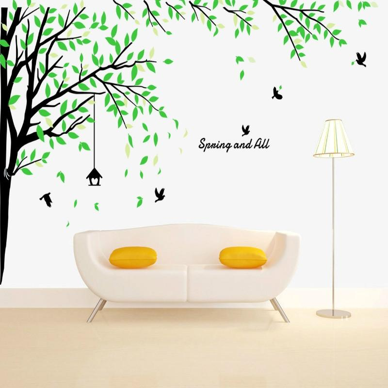big size living room tree wall sticker - green and black: buy online