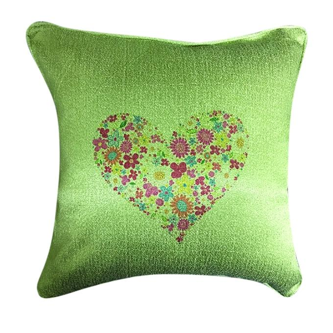 Heart Shape Flower Printed Cushion Cover - Olive