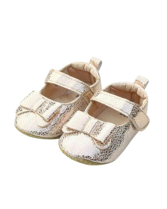 Golden PU Leather Shoe For Baby