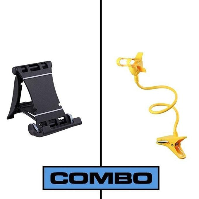 Combo of Multi Mobile Tablet Stand & 360 Rotate Mobile and Tablet Stand - Black & Yellow