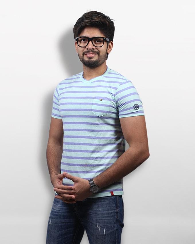 Mint and Lavender Stripe Cotton Round Neck T-Shirt For Men