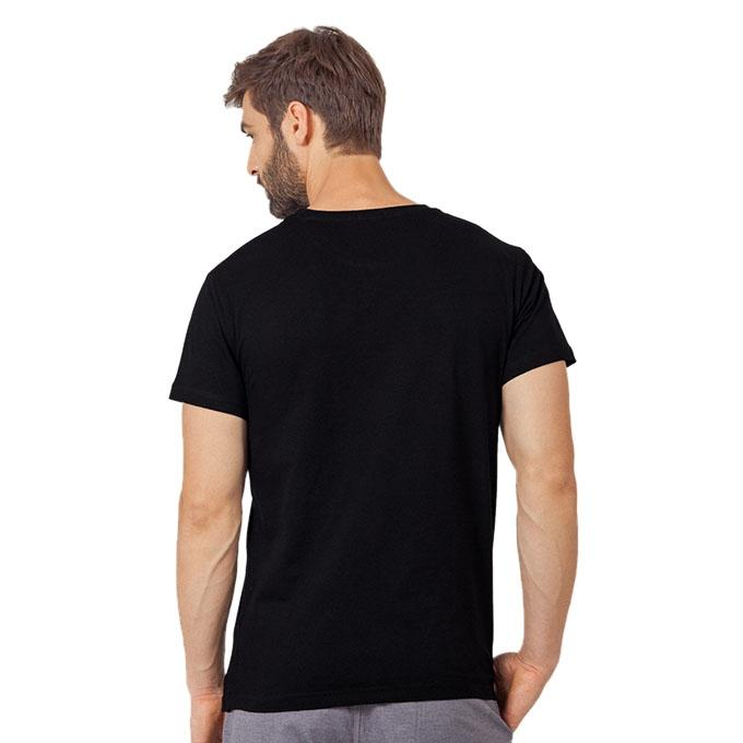 Black Cotton Lalon T-Shirt For Men