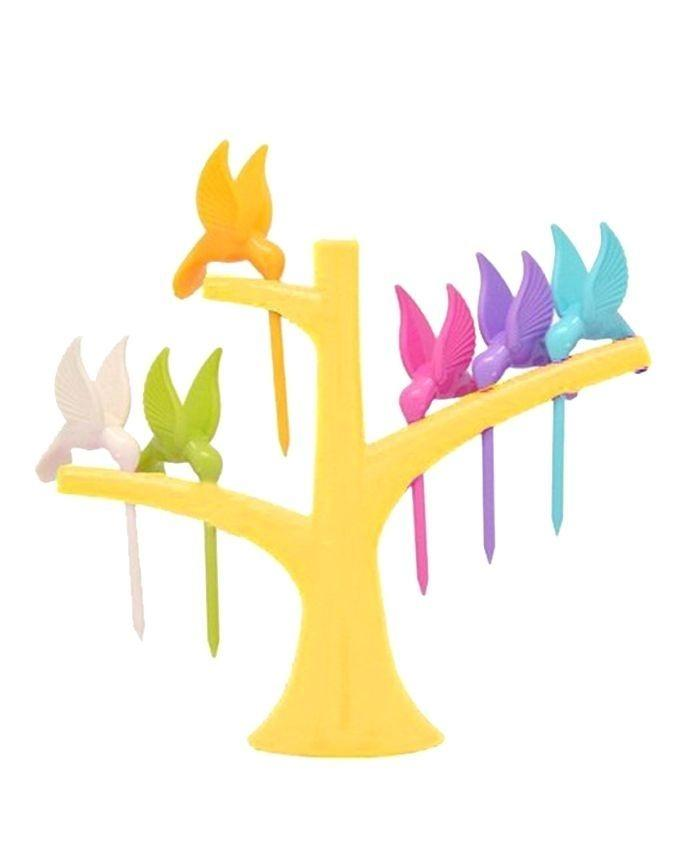 Stylish humming bird disposable plastic fruit fork set (6pcs) - Multicolor