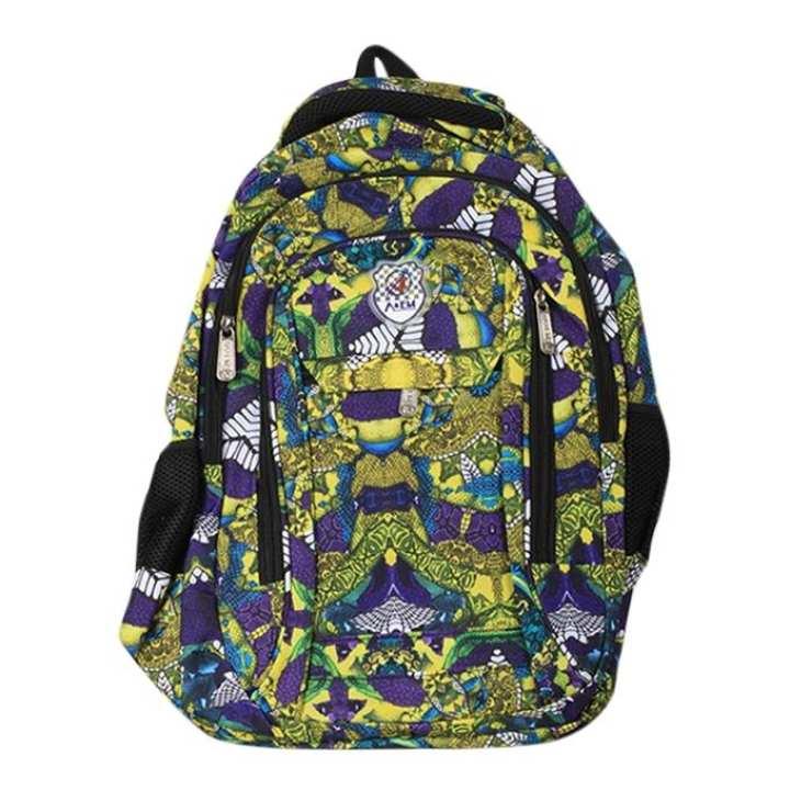 Multicolor Fabric School Bag for Boys