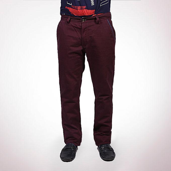 Maroon Twill Gabardine Pant For Men