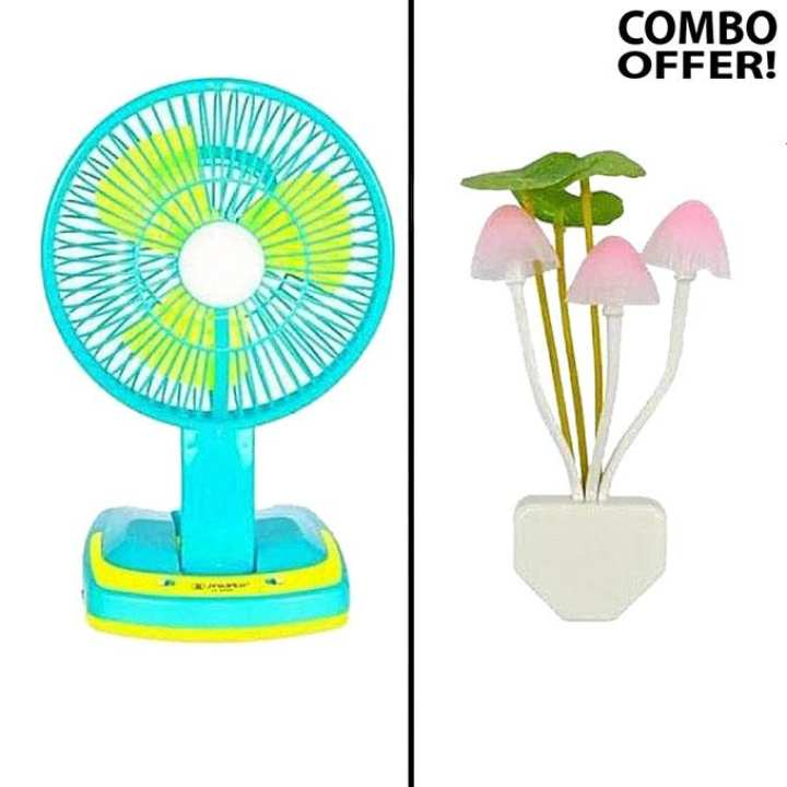 Rechargeable Fan With Light And Mushroom LED Light Combo Set - Blue and Yellow
