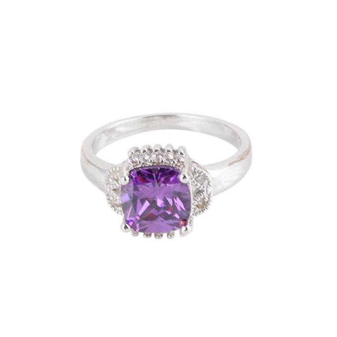 Purple Platinum Plated Zircon Ring For Women