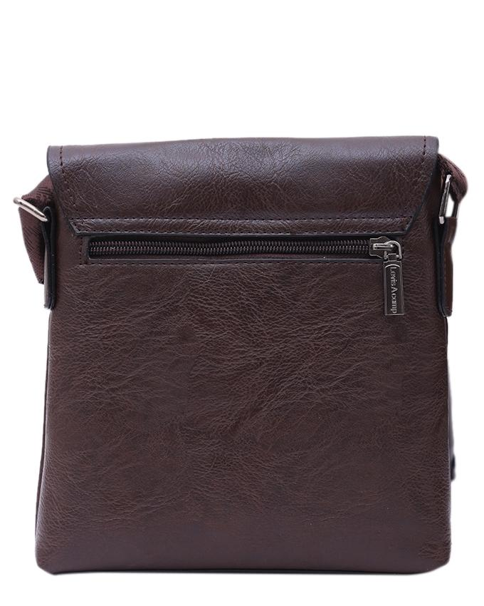 PU Leather Messenger Bag For Men - Deep Chocolate