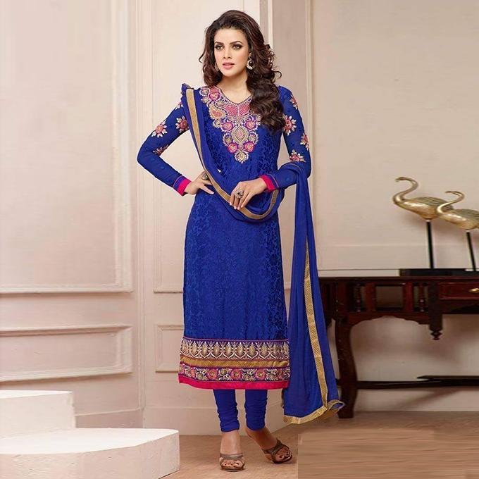 Blue Cotton Un-stitched Block Printed Shalwar Kameez For Women