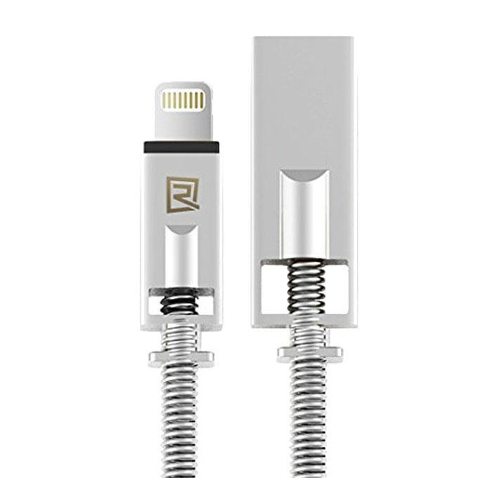 RC-056i 2.1A Charging Data Sync Cable with Metal Spring for iPhone - Silver